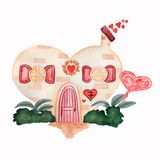 Cute watercolor house for Valentine`s Day, with hearts,bushes anf leaves on a white background. sandy color and red tones. Hand stock illustration