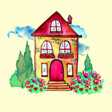 Cute watercolor landscape with house and garden. Sweet home concept. Hand painted card with happy house, blue clouds Royalty Free Stock Image