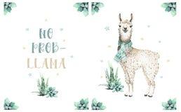 Cute watercolor llama, alpaca illustration isolated on white. Llama print ethnic blanket, flowers wreath, floral bouquet