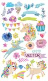 Cute watercolor magic unicorn with flowers stock illustration