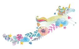 Cute watercolor magic unicorn Stock Images