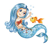 Cute watercolor mermaid and gold fish Stock Photos