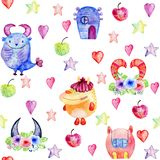 Cute Watercolor Monsters Royalty Free Stock Photos