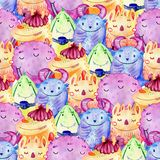 Cute watercolor Monsters. Watercolor Seamless pattern with cartoon funny monsters Royalty Free Stock Photo