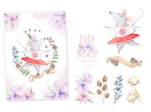 Cute watercolor Mouses birthday greeting cards, posters for baby room, baby shower, invite, kids and baby t-shirts and wear. Hand