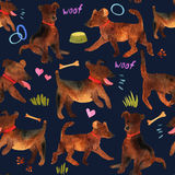 Cute watercolor seamless pattern with dogs and things for there Royalty Free Stock Image