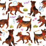 Cute watercolor seamless pattern with dogs and things for there. Stock Photos