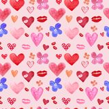 Cute watercolor seamless pattern with hand painted hearts on pink background. Love symbols set for Valentines day, vector illustration