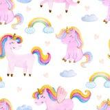 Cute watercolor seamless pattern with unicorn. Nursery unicorns illustration. Cute watercolor seamless pattern with unicorn. Nursery unicorns illustration royalty free illustration