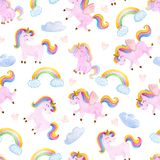Cute watercolor seamless pattern with unicorn. Nursery unicorns illustration. Cute watercolor seamless pattern with unicorn. Nursery unicorns illustration vector illustration