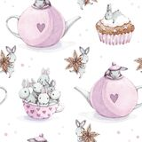 Cute watercolor seamless pattern. Wallpaper with party cupcakes and beautiful fantasy bunneis cartoon animals, cups, anise star, t