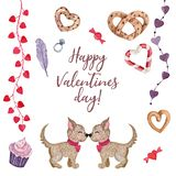 Cute watercolor set for Valentine`s Day royalty free illustration