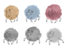 Cute watercolor sheeps set Stock Images