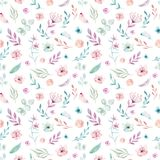 Cute watercolor unicorn seamless pattern with flowers. Nursery magic unicorn patterns. Princess rainbow texture. Trendy Stock Photo