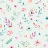 Cute watercolor unicorn seamless pattern with flowers. Nursery magic unicorn patterns. Princess rainbow texture. Trendy Royalty Free Stock Photography
