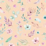 Cute watercolor unicorn seamless pattern with flowers. Nursery magic unicorn patterns. Princess rainbow texture. Trendy Stock Photos