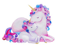 Cute watercolor unicorns. Cute watercolor pink unicorns - mom and daughter royalty free illustration
