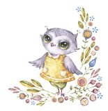 Cute watercolour owl in childish style stock illustration