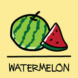 Cute watermelon hand-drawn style, vector illustration. Cute  watermelon hand-drawn style,drawing,hand drawn vector illustration Royalty Free Stock Image