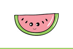 Cute watermelon slice with face Illustration. Royalty Free Stock Photo