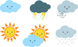 Free Cute Weather Cartoon Clipart Royalty Free Stock Images - 95026029