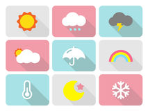 Cute weather flat icons with long shadow Royalty Free Stock Photo