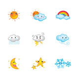 Cute weather icons. A set of cute weather icons – suitable for web, powerpoint, leaflet etc. related to children Royalty Free Stock Photography