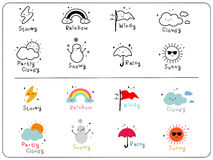 Cute weather icons, outline and colorful cute icon. Royalty Free Stock Photo