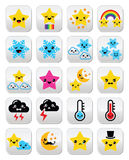 Cute weather kawaii buttons, star, rainbow, moon, snowflake, thunder and cloud Royalty Free Stock Photo