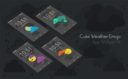 Cute weather moile app screens on 3d smartphone mockups Stock Photo