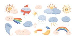 Free Cute Weather Phenomena - Clouds, Wind, Rainbow, Thunderstorm, Tornado, Snow, Rain, Sun And Crescent Moon. Adorable Royalty Free Stock Photos - 151495928