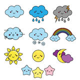 Cute weather and sky elements. Kawaii moon, sun, rain clouds vector illustration for kids, isolated design children Royalty Free Stock Image
