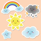 Cute weather and sky elements. Kawaii sun, rainbow, clouds. vector stickers for kids, isolated design elements. Children labels.  Royalty Free Stock Images