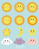 Cute weather: sun, moon, star, clouds. Design elements for kids illustrations. Stock Photography