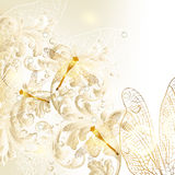 Elegant wedding floral background with ornament and dragonfly stock illustration