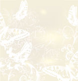 Elegant wedding background with roses and butterflies Royalty Free Stock Photography