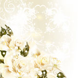 Beautiful design background with pastel roses, pears, swirl orna. Cute wedding background with roses, lace and place for text Stock Photography