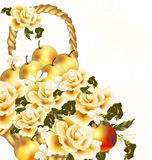 Beautiful floral background with realistic beige roses and apple Stock Photo