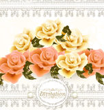 Invitation wedding card with beige and pink soft roses flowers. Cute wedding background with roses, lace and place for text Stock Photo