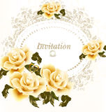 Invitation wedding card with beige and pink soft roses flowers Stock Photos