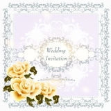 Invitation wedding card with swirl ornament and roses. Cute wedding background with roses, lace and place for text Stock Photography