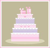 Cute wedding/birthday cake Stock Photos