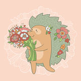 Cute wedding card. Hedgehog with flowers in love. Stock Images