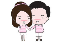 Cute wedding cartoon. A couple in pink t-shirt and they hold hands Vector Illustration
