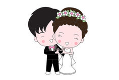 Cute wedding cartoon. Cute cartoon groom and bride are happy on their wedding day Vector Illustration