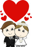 Cute wedding characters royalty free illustration