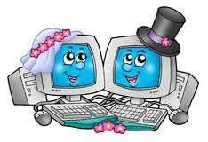 Cute wedding computers Stock Photo