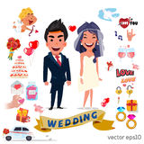 Cute wedding couple character with set of wedding ceremony  Royalty Free Stock Photos
