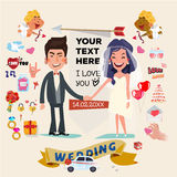 Cute wedding couple character with set of wedding ceremony  Stock Photos
