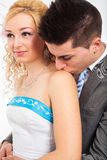 Cute wedding couple kissing Royalty Free Stock Photos